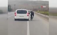 Bisikletli canını hiçe sayıp bu kadarına da pes dedirtti